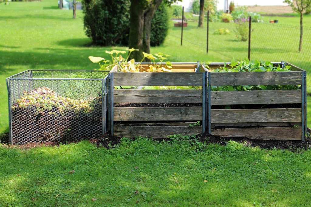 food waste in compost bins